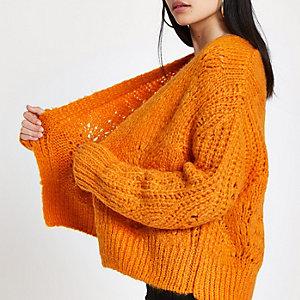 Oranje gebreid vest