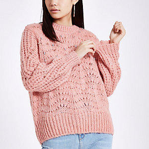 Pink knit crew neck embellished jumper