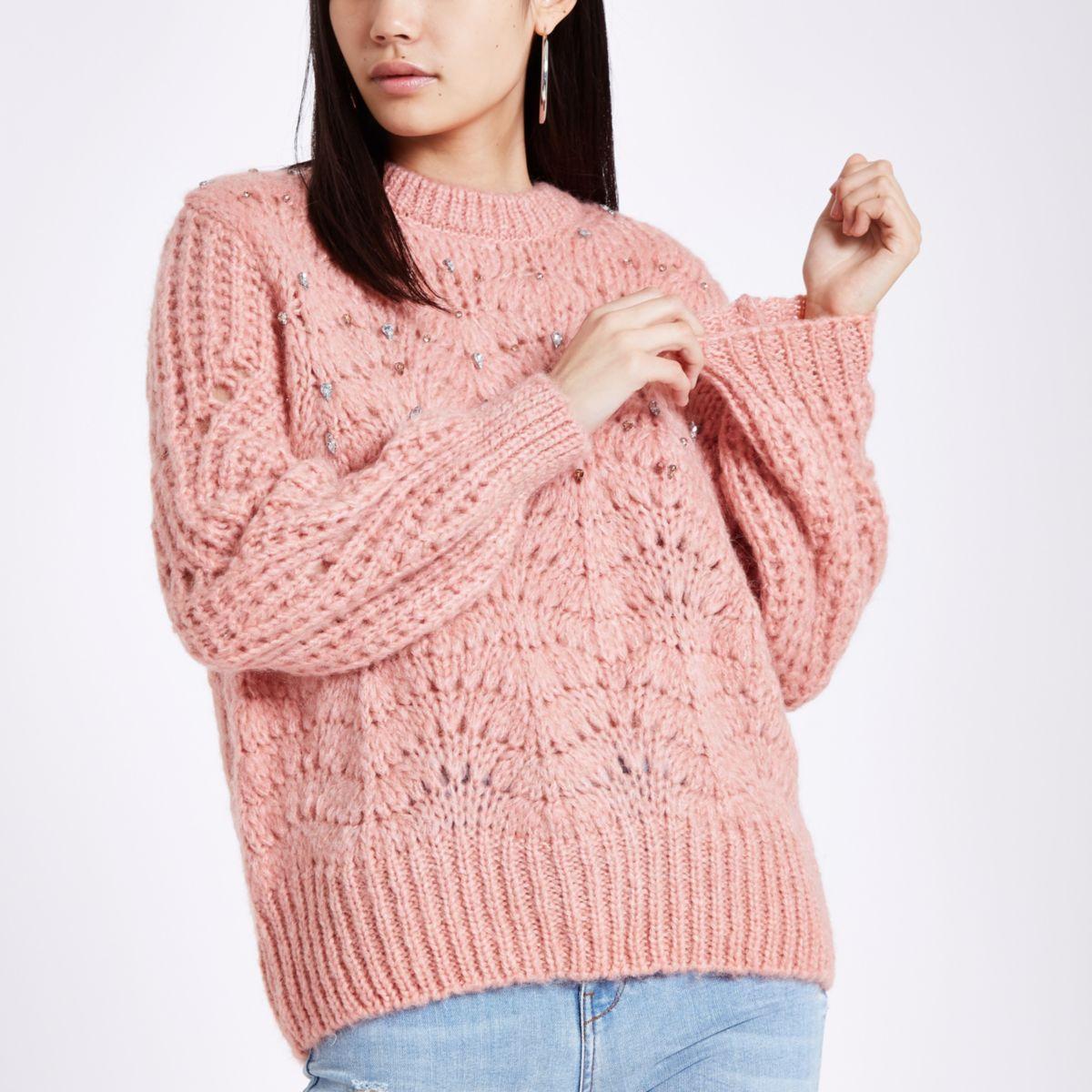 Pink knit round neck embellished sweater