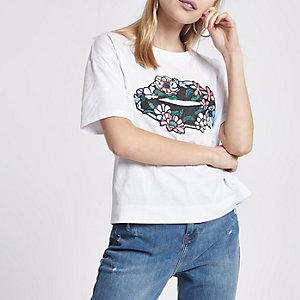 T-shirt motif lèvres appliqué blanc