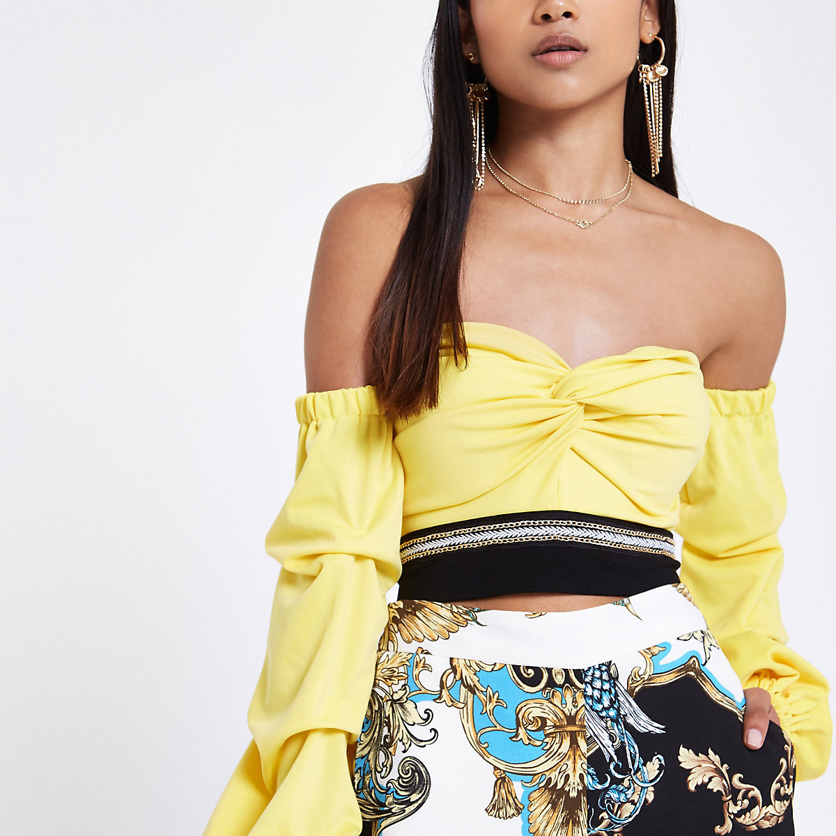 Petite yellow bardot ruche sleeve crop top