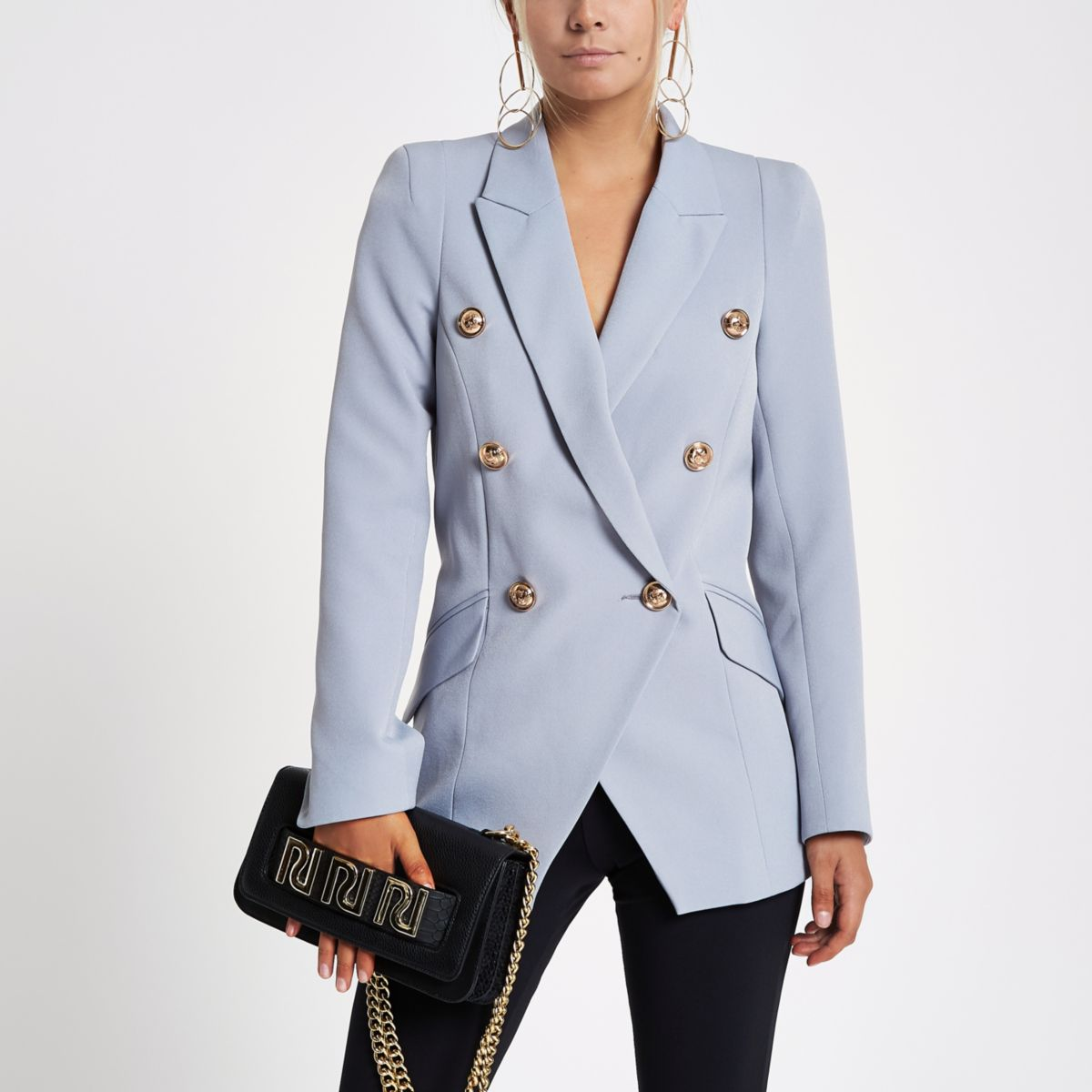Petite Blue Double Breasted Tux Jacket by River Island