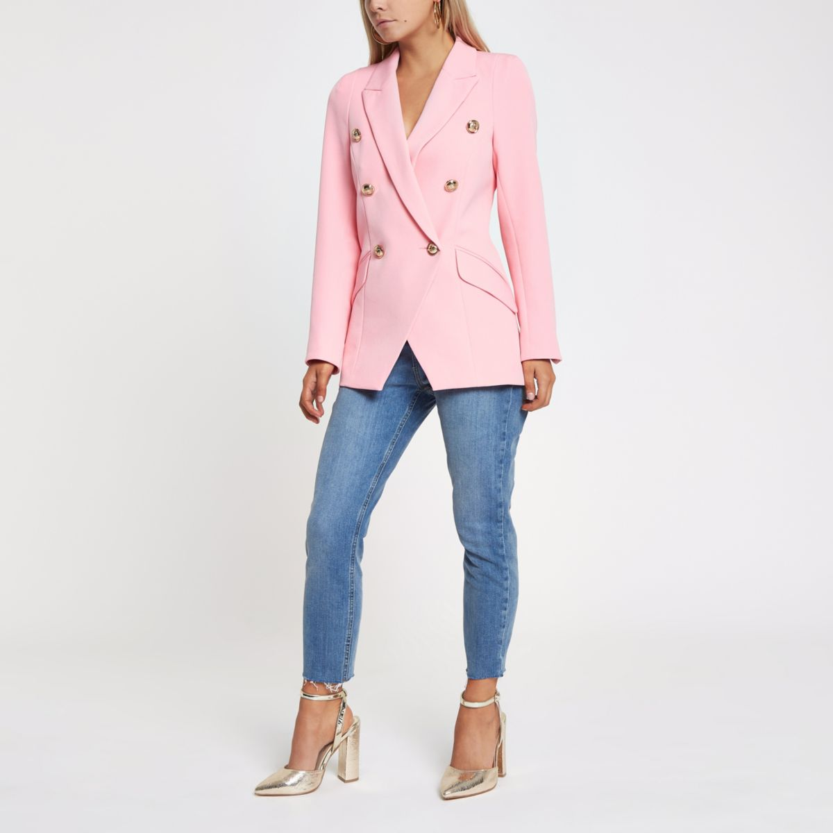 Petite pink double breasted tux jacket
