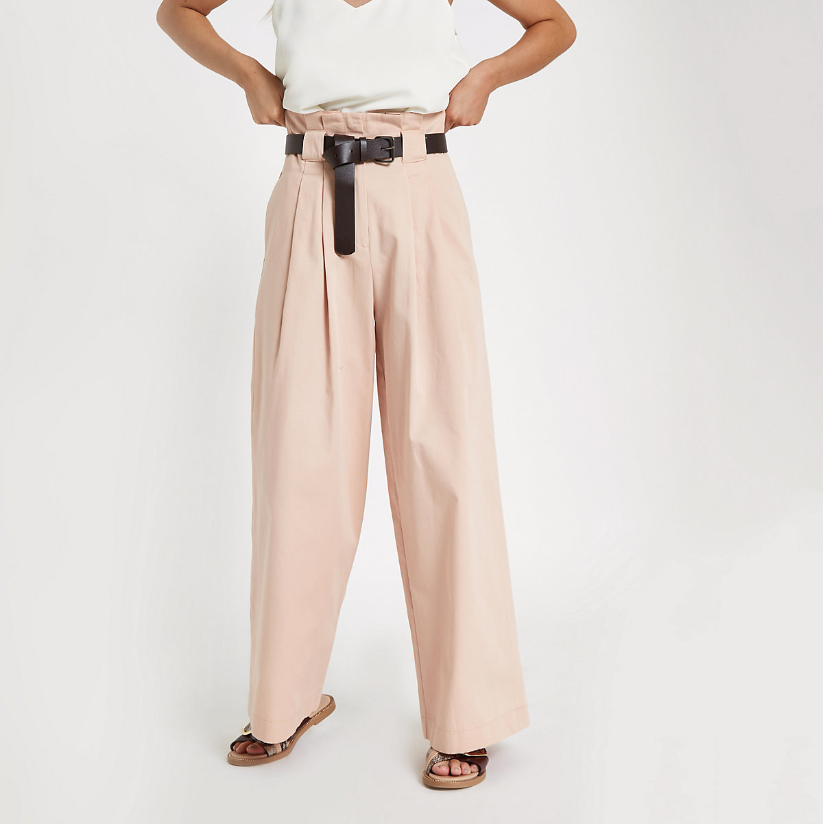 Petite pink belted wide leg pants