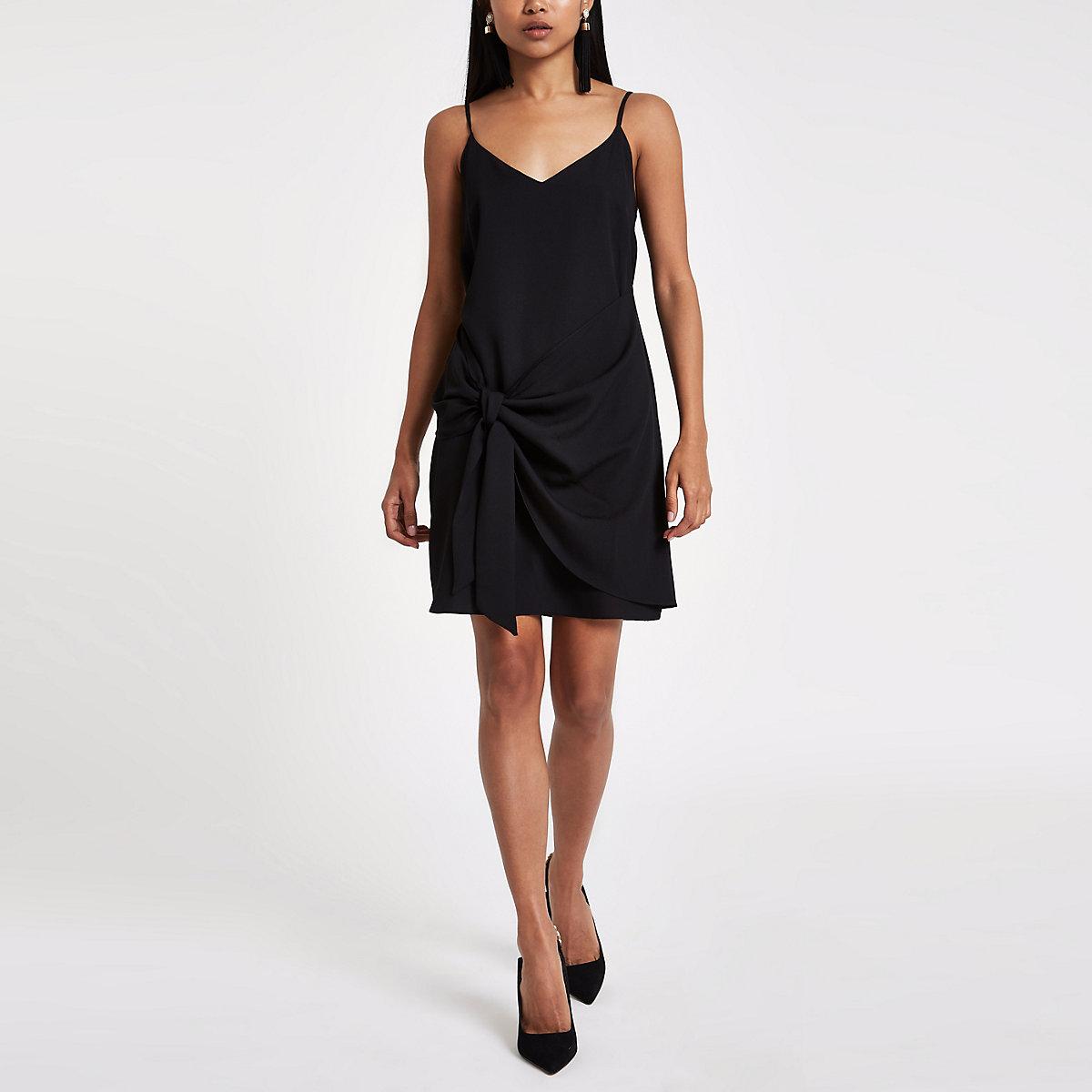 2f1ac42887 Petite black tie front cami slip dress - Slip   Cami Dresses - Dresses -  women