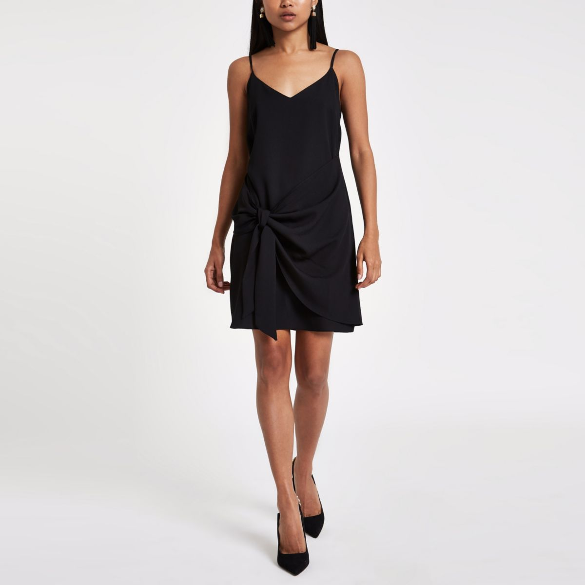 Petite black tie front cami slip dress