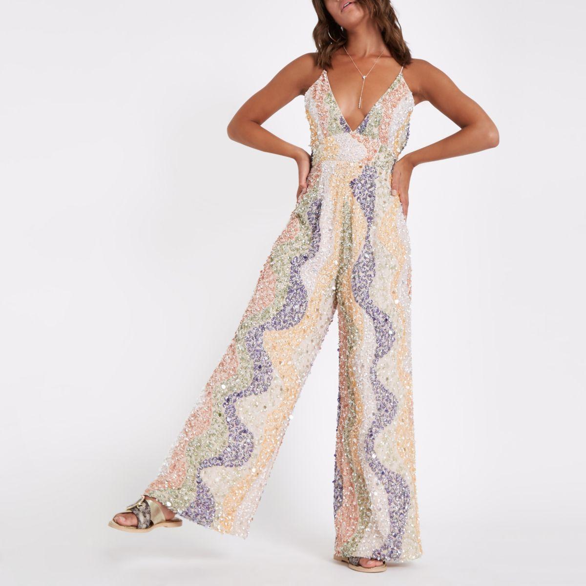Beige sequin embellished plunge jumpsuit