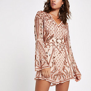Light pink mesh embellished playsuit