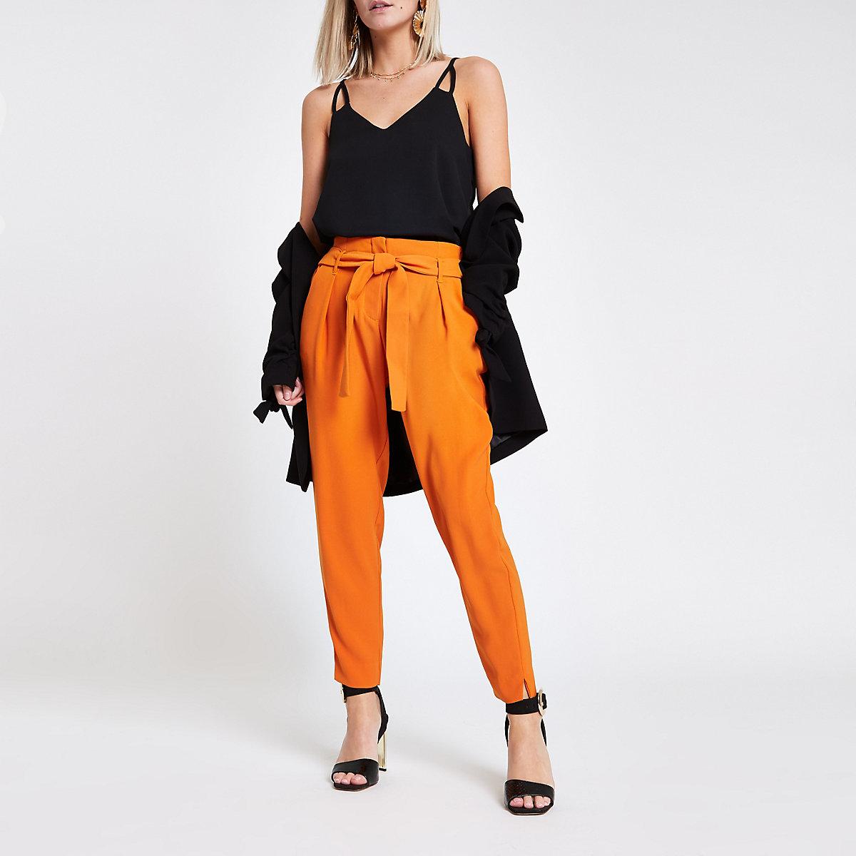 Petite orange tie waist tapered leg pants