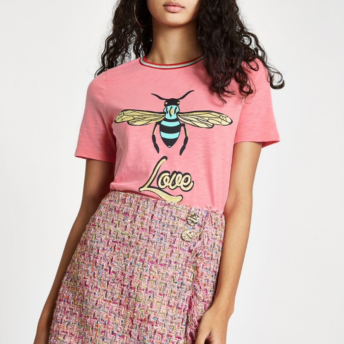Pink wasp print 'love' T-shirt