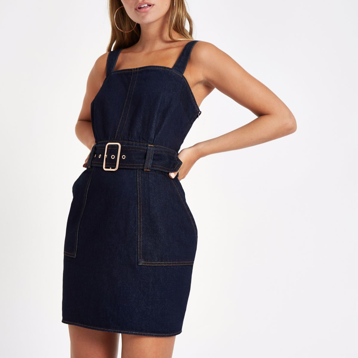 Petite dark blue denim belted mini dress