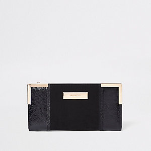 Black patent panel slim foldout purse