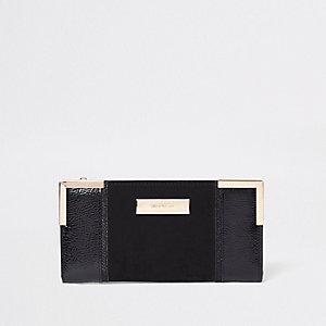Zwarte smalle uitvouwbare portemonnee met lakleren paneel