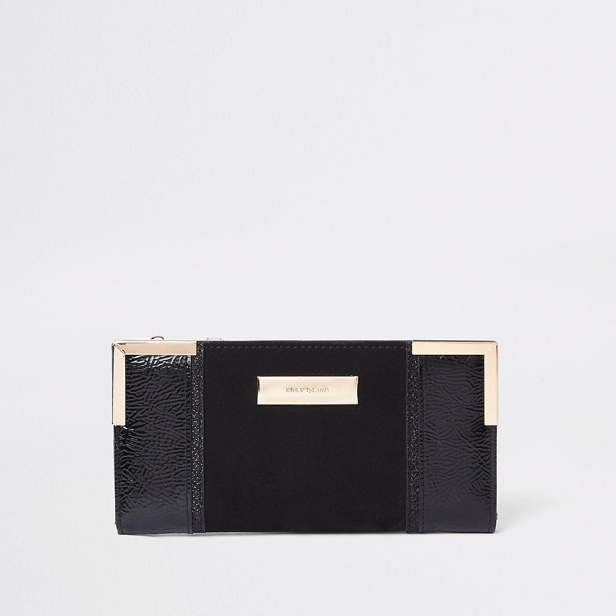 Black patent panel slim foldout purse