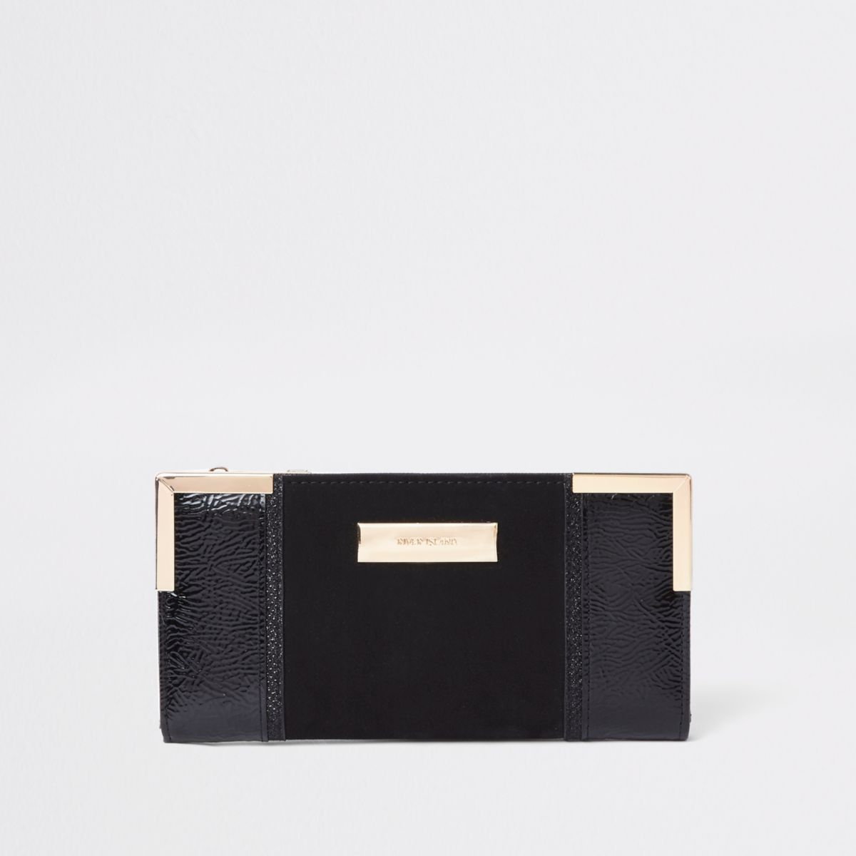Black Patent Panel Slim Foldout Purse by River Island