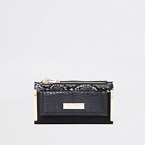 Black snake print front pocket foldout purse