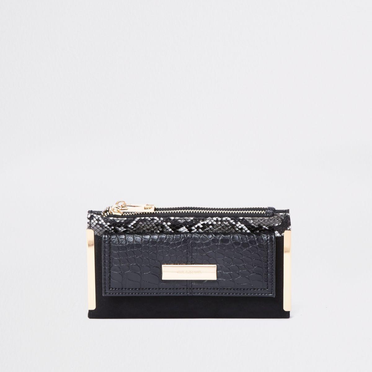 Zwarte uitvouwbare portemonnee met slangenprint en vak voor