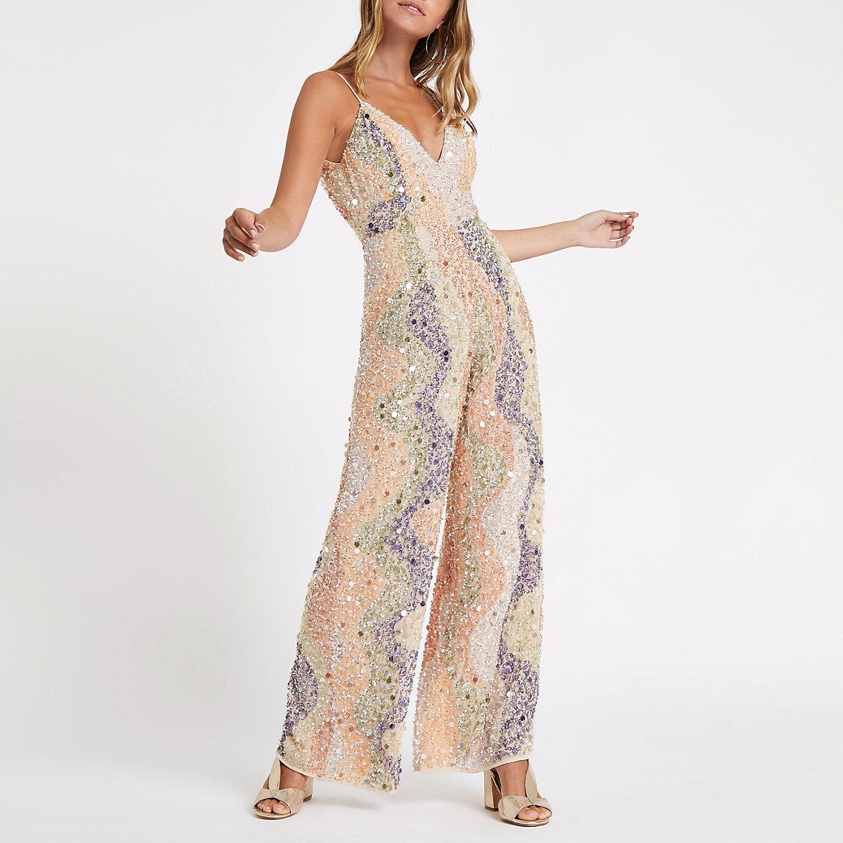 Petite cream embellished culotte jumpsuit
