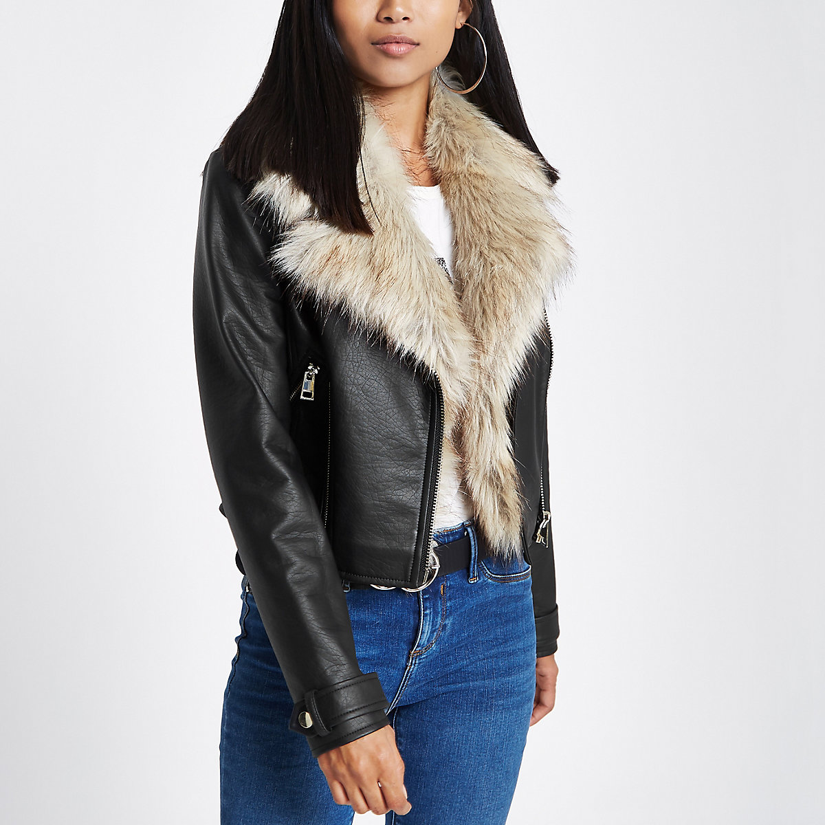 Petite black faux fur trim biker jacket