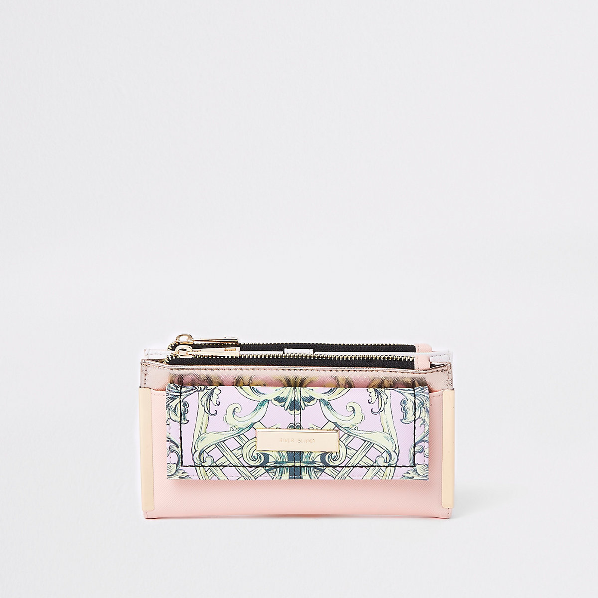 Pink floral panel foldout purse