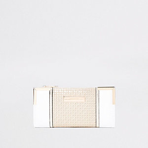 Cream padded slim fold out purse