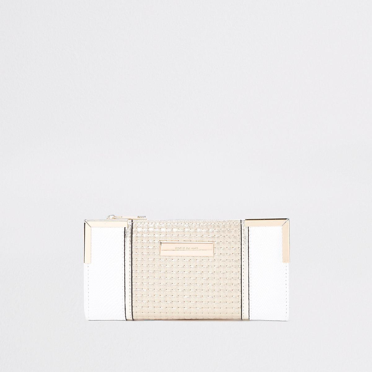 Cream padded slim fold out purse