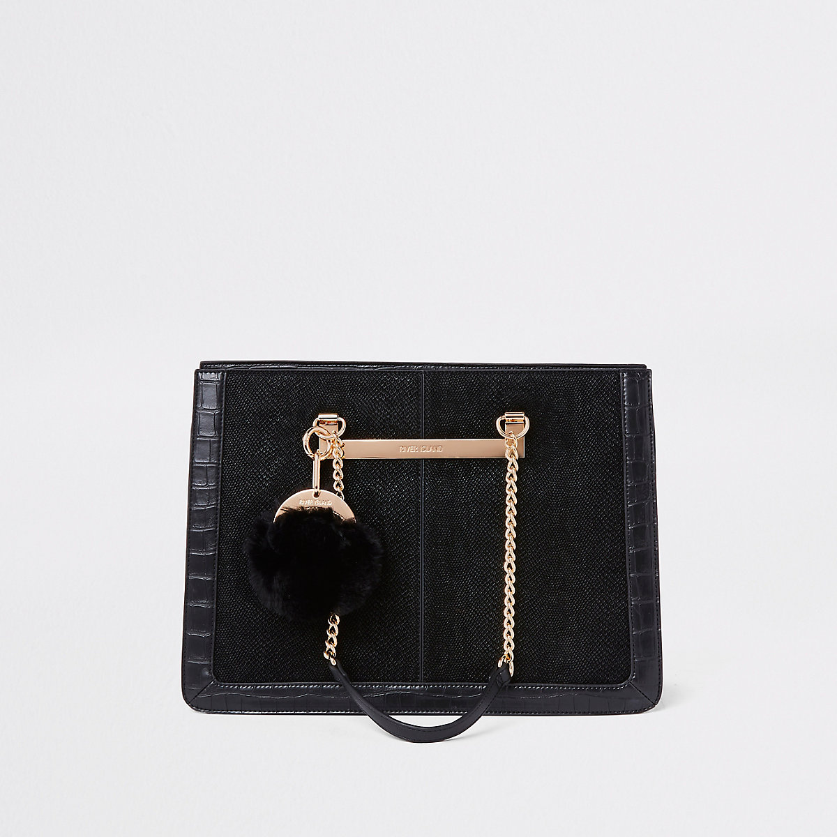 Black chain handle pom pom tote bag