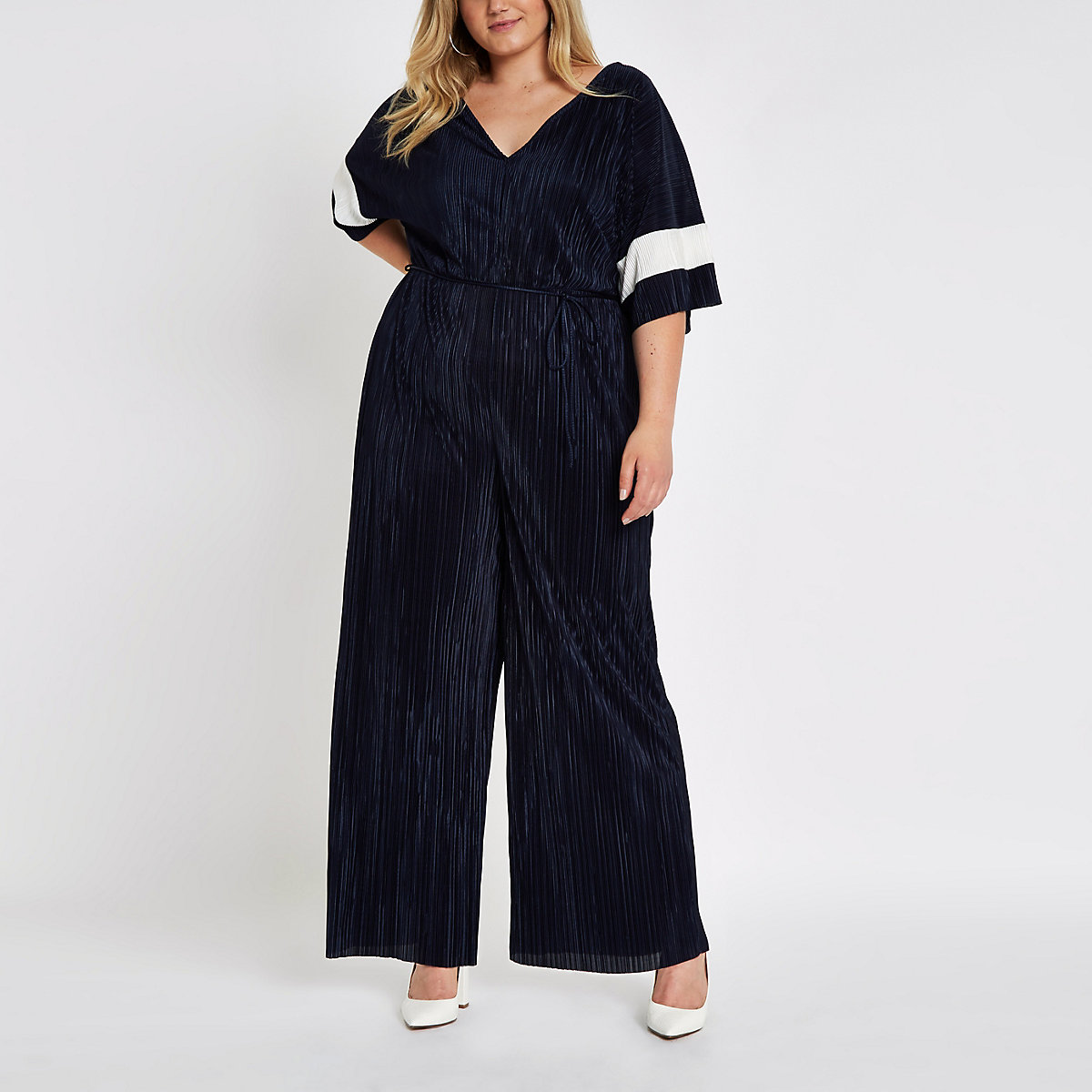 Plus navy plisse V neck wide leg jumpsuit