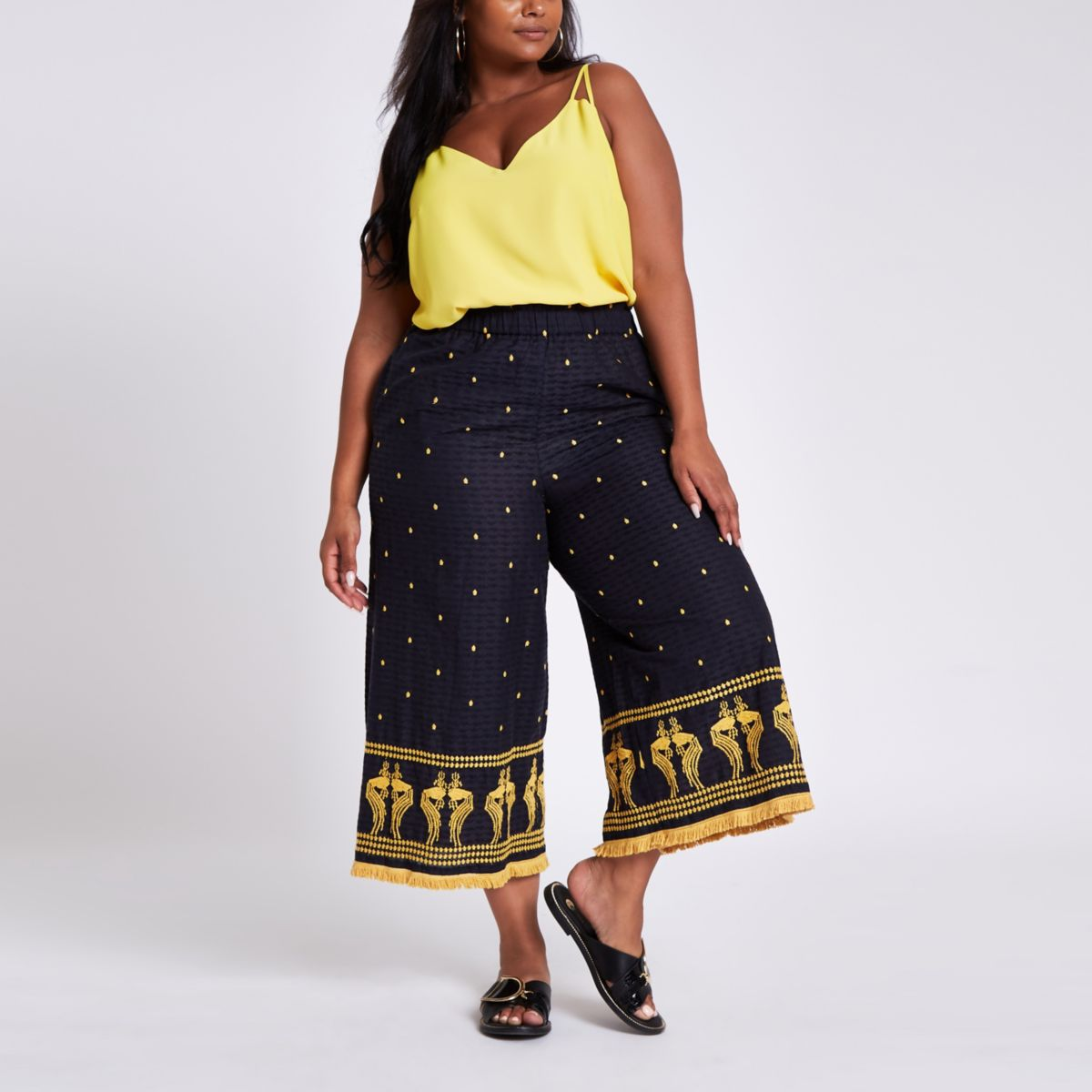 Plus black embroidered hem culottes