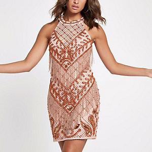 Bodycon-Kleid in Hellrosa mit Verzierung