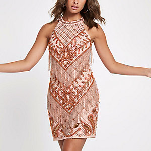 Light pink embellished bodycon dress