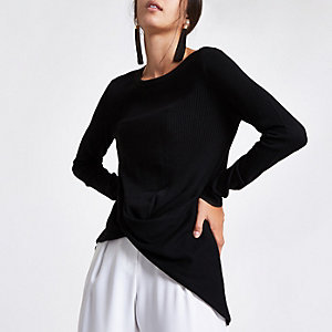 Black twist front knitted top