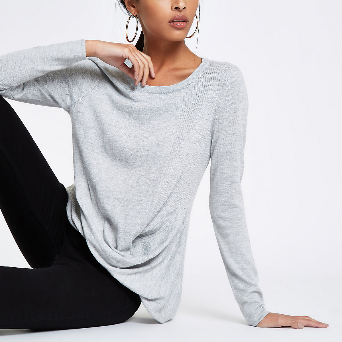 Grey twist front top