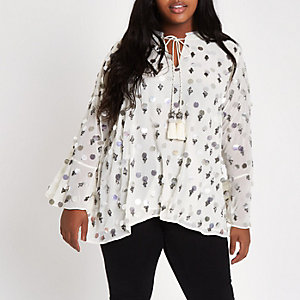 Plus cream sequin embellished smock top