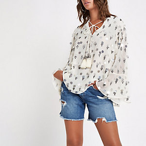 White embellished tassel tie top