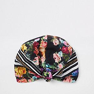 Turban à fleurs noir
