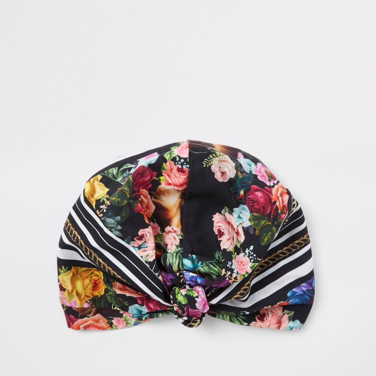 Schwarzer Turban mit Blumenmuster