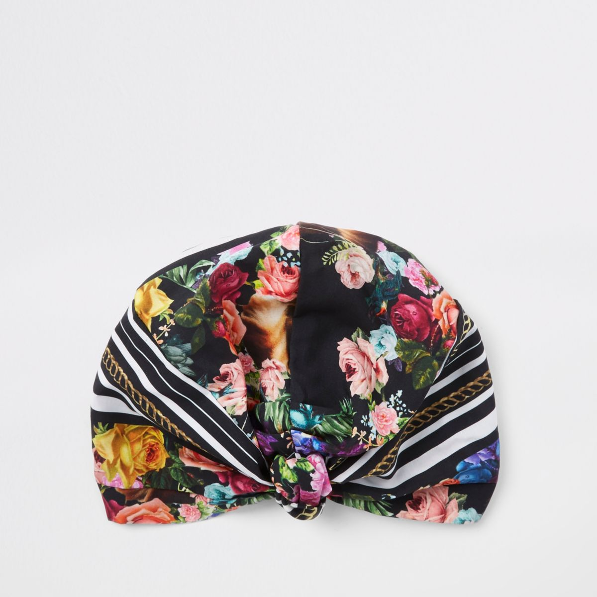 Black floral turban hat