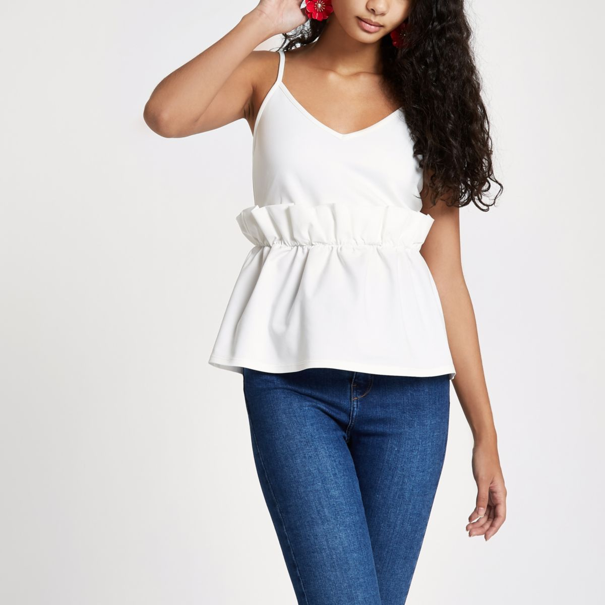 White paperbag waist cami top