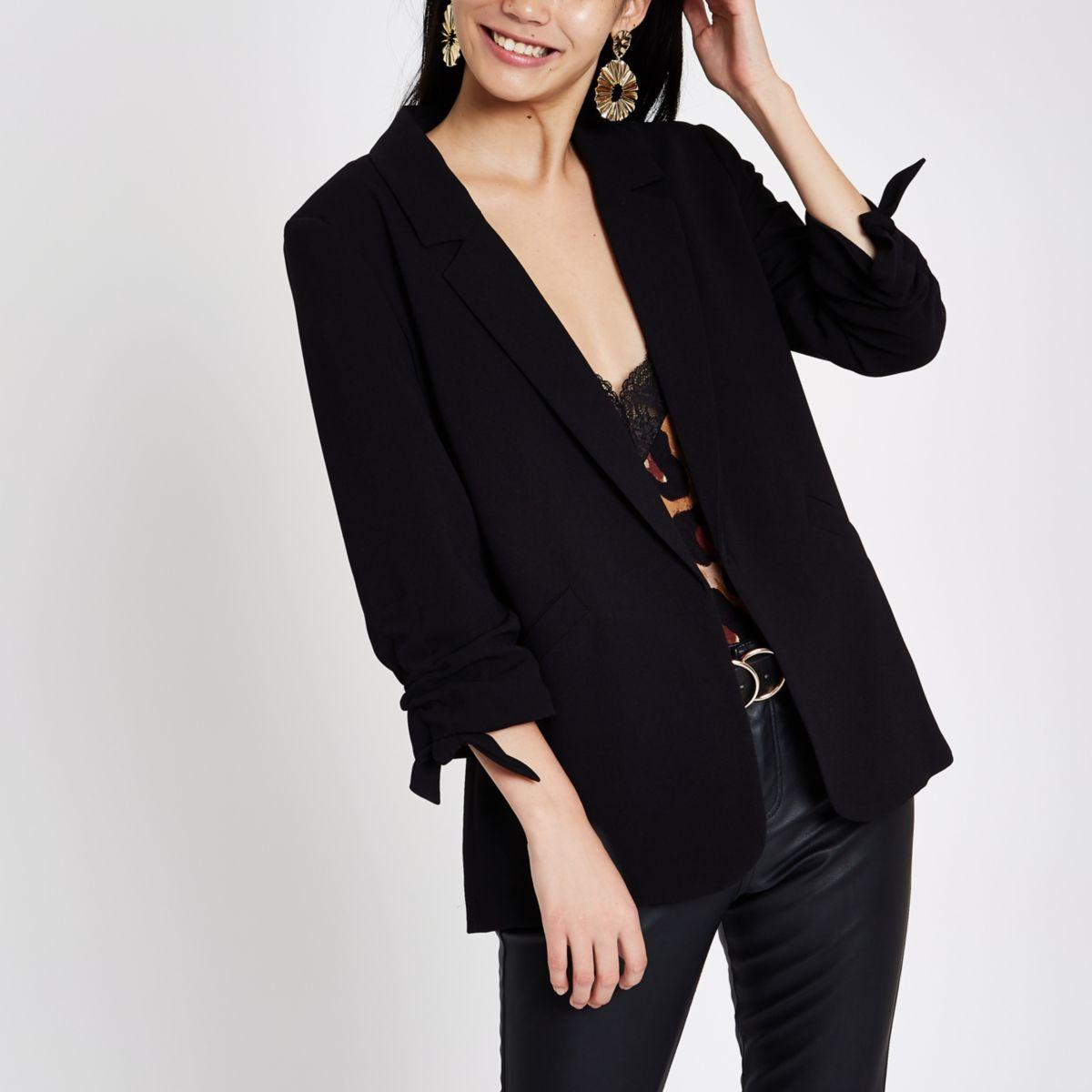Black rouche sleeve open front blazer