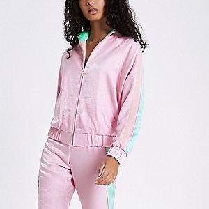 Pink satin panel sleeve bomber jacket