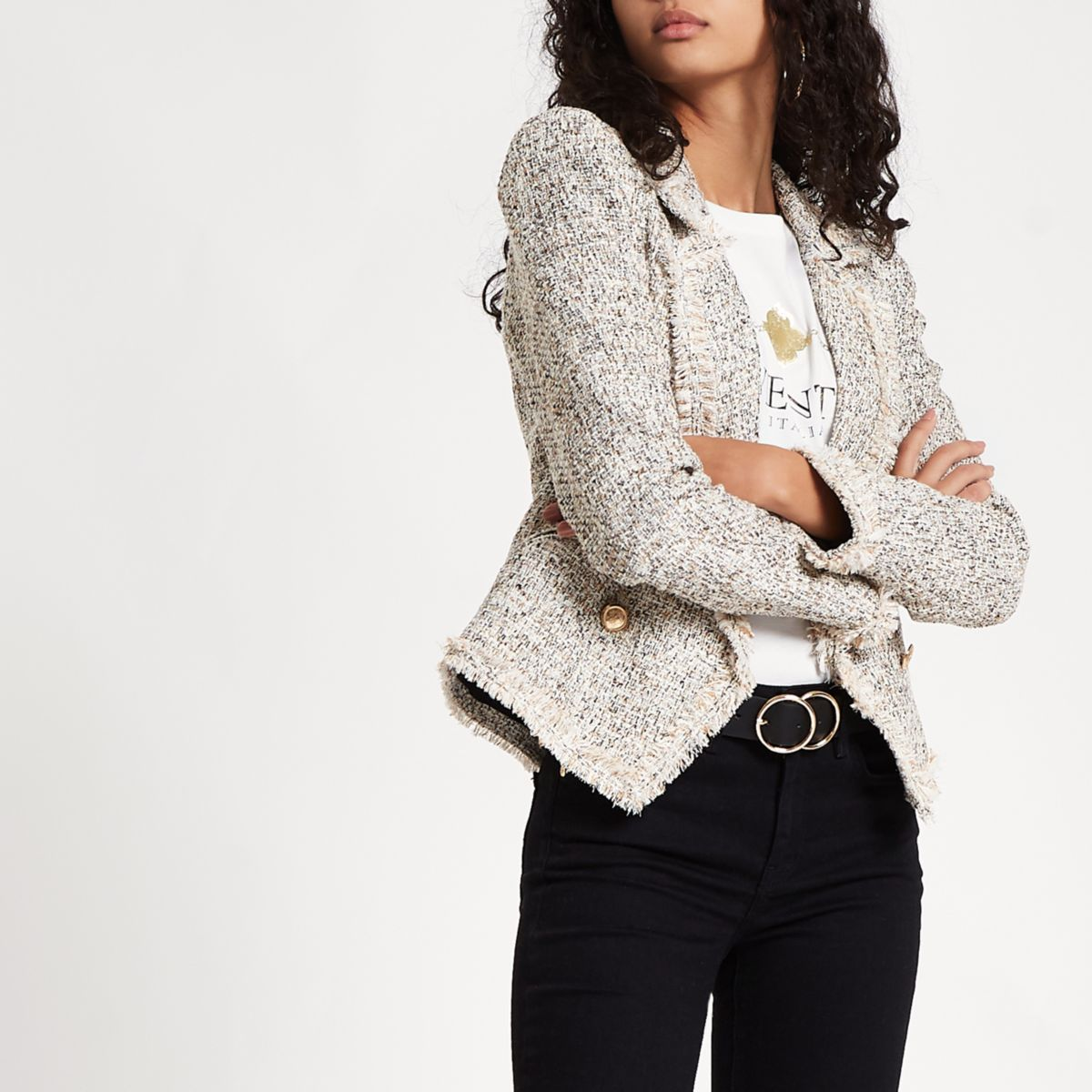 Cream check print boucle jacket