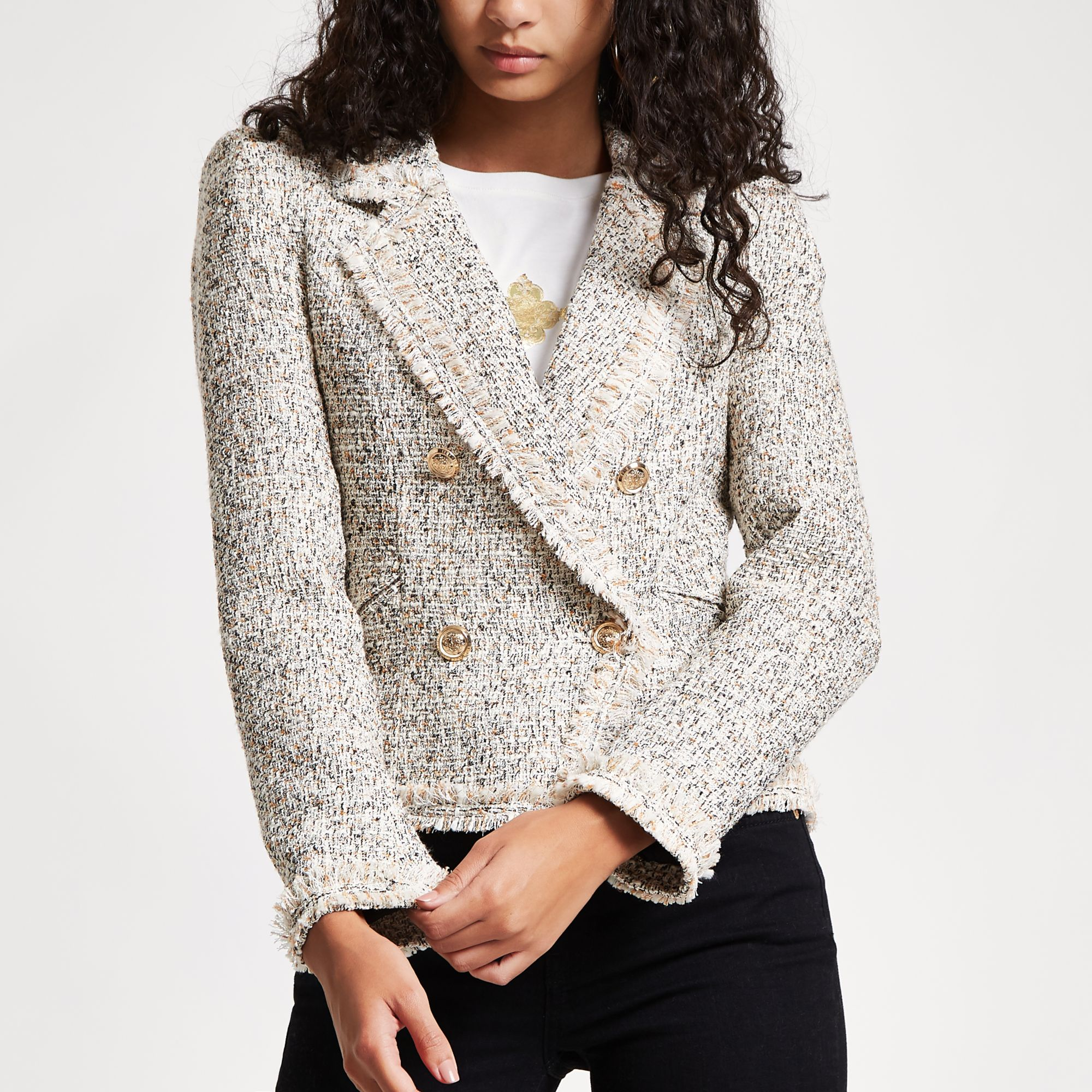 various styles temperament shoes popular brand River Island Cream check print boucle jacket at £35 | love the brands