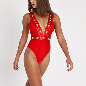 Red stud plunge swimsuit