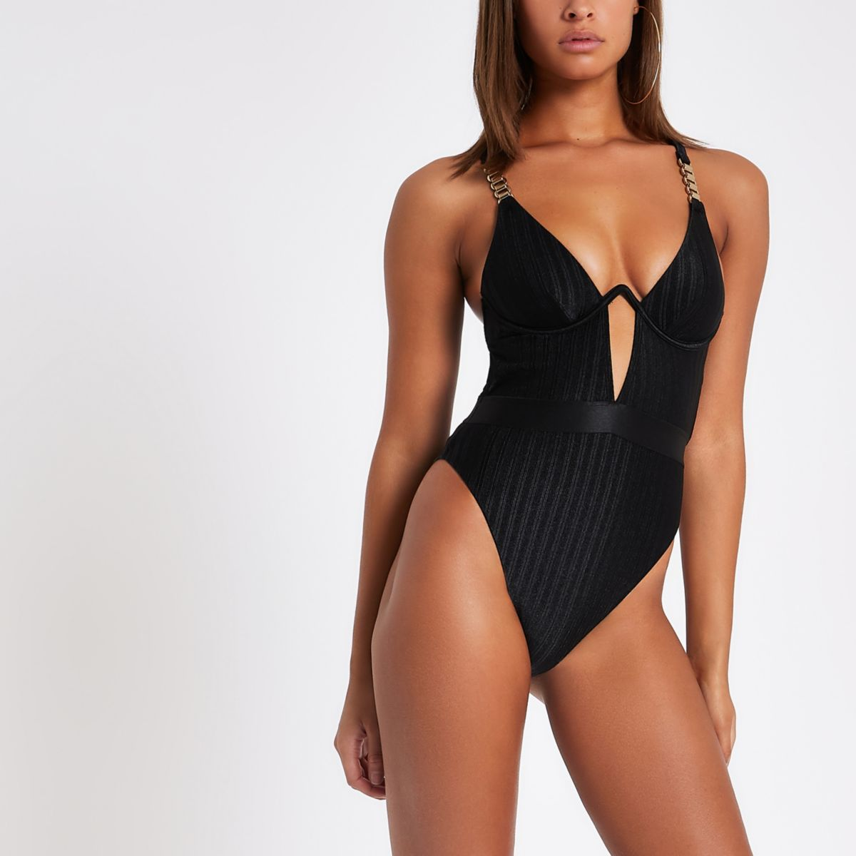 Black chain strap swimsuit