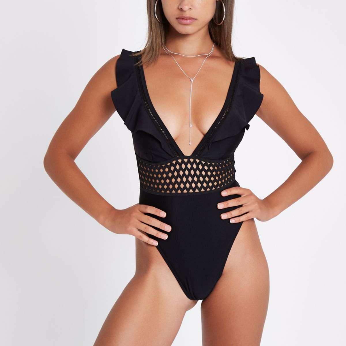Black frill plunge swimsuit