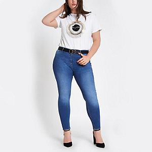 RI Plus - Molly - Blauwe skinny jegging met halfhoge taille