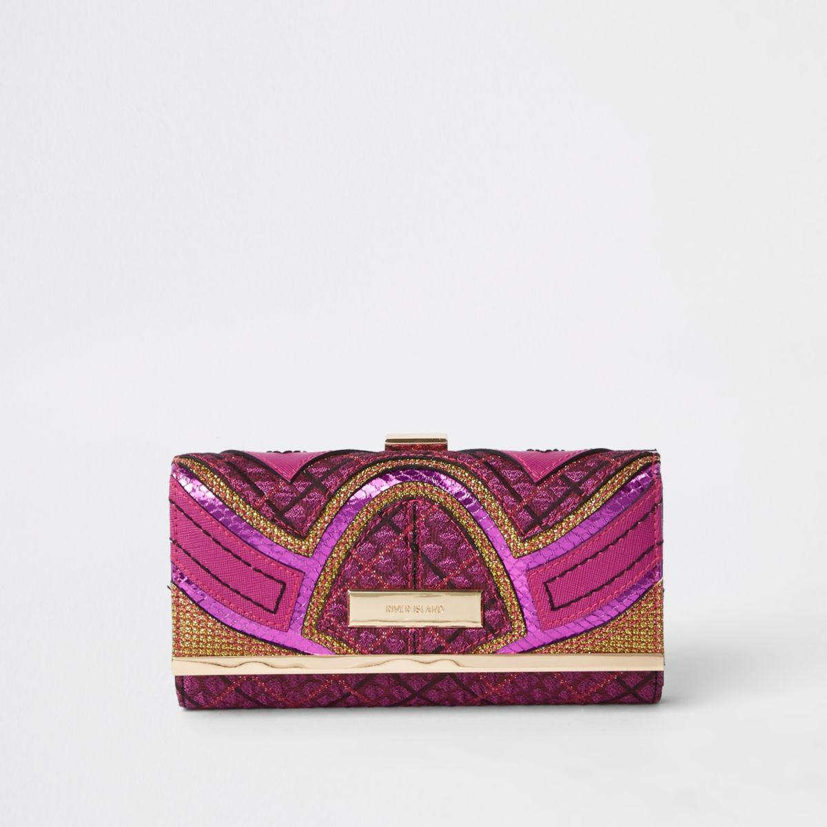 Pink print cutabout panel clip top purse