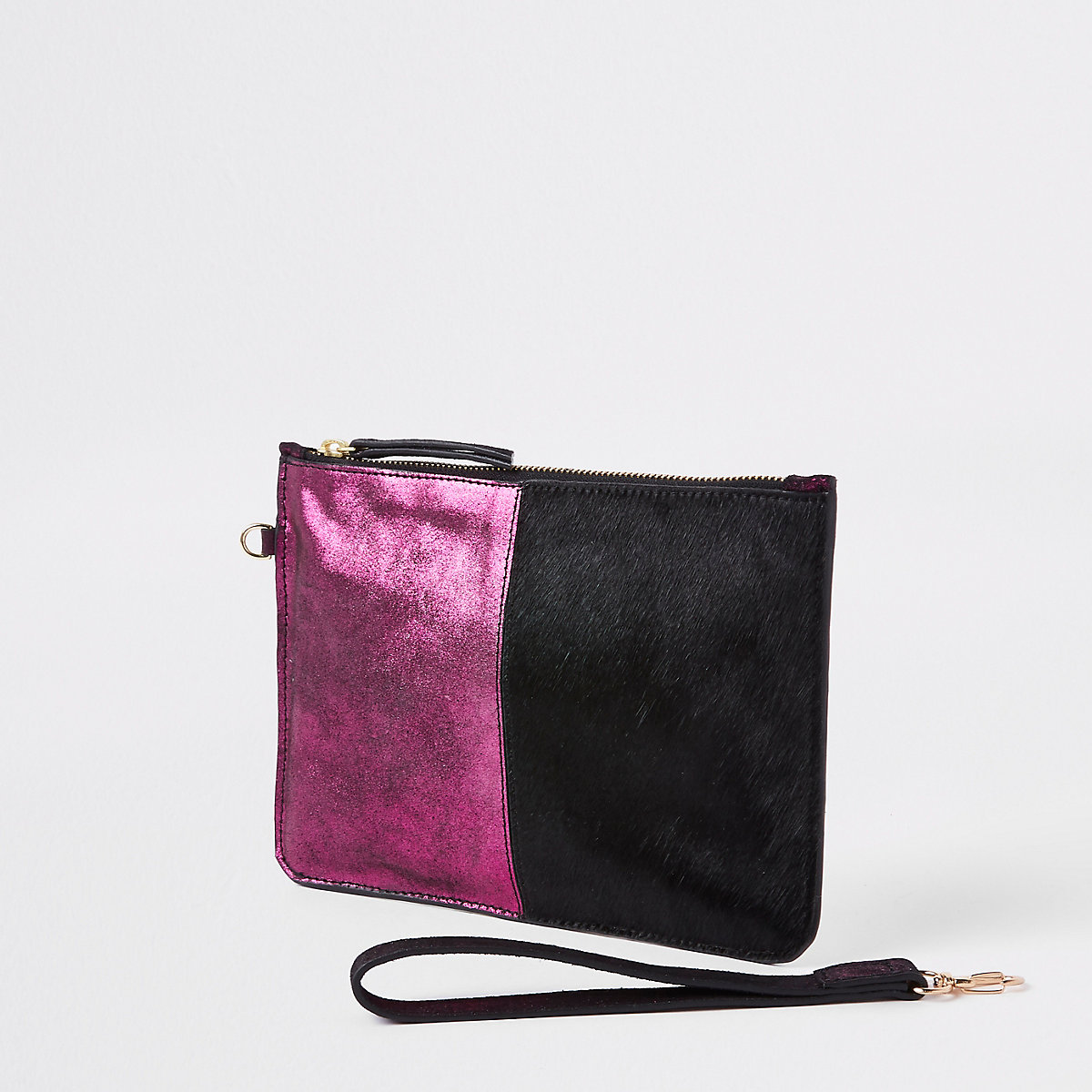 Pink leather spot pouch clutch bag