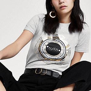 T-shirt ajusté «1988» gris à manches courtes